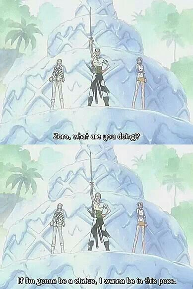 one piece, zoro - if you're gonna be a statue, be a statue with a cool pose