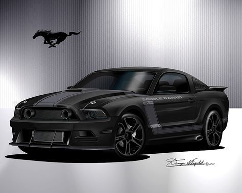 ITEM 017 GT - 26- 2013 CUSTOM MUSTANG - DOUBLE BARREL ART PRINT -BUY IT AT http://www.dannywhitfield.com/1969_1970_mustang.html