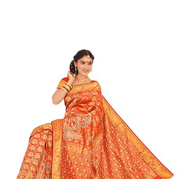 Orange Pure Brocade Silk Saree with Blouse