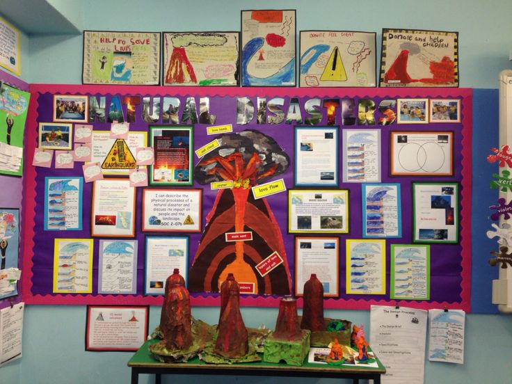 Natural disasters wall display Ict research factfiles, class volcano project, tsunami storyboards, volcano models etc