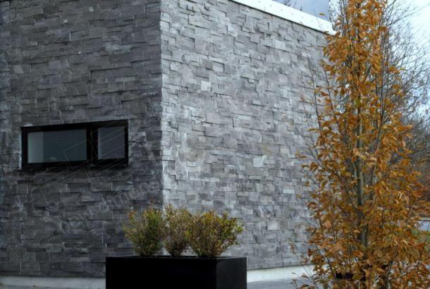 Charcoal XL Rock Panel   Large Format Natuurlijk gestapelde stenen fineer voor Wall Bekleding