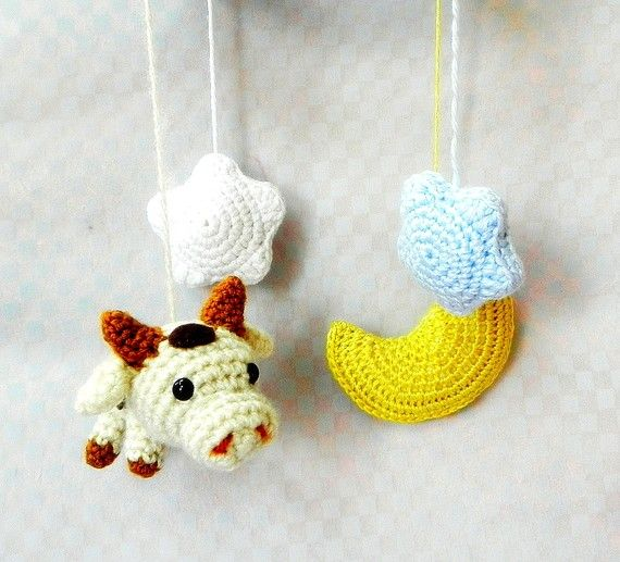 Crochet Amigurumi Cow Jumping Over the Moon Mobile