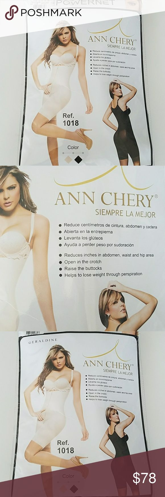 Ann Chery 1018 Geraldine Faja M NEW RETAIL$ $108  Ann chery Mid Thigh powernet bodysuit  1018 Geraldine Faja Para Adelgazar Women Compression Shaper Size M Color Nude  For waist  29 30    Ideal use for Post Surgery Post partum or simple a smooth/slim  silute. Visibly reduced waistlineSlims hips, waist, abdomen, back, and legs Enhances  breasts Enhances buttocks open crotch  ajustable straps Abdominal front  zipper. Ann Chery Intimates & Sleepwear