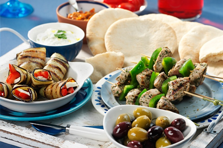 GREECE - mmm...Mezze! Have as many as you like, you could even make it an entire meal. Aegean tapenade, stuffed olives, Tzatziki dip, etc. #Oil & Vinegar, #Greece, #Recipes