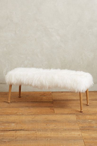 Luxe Fur Bench #anthropologie - could be done with a vintage coffee table and thrift store fur coat?