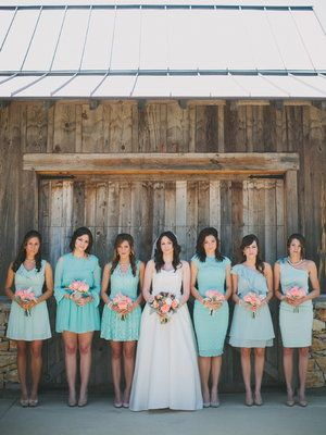 Love the idea of the girls wearing all different dresses in YOUR colors. Very rustic! @Ashley Vasquez