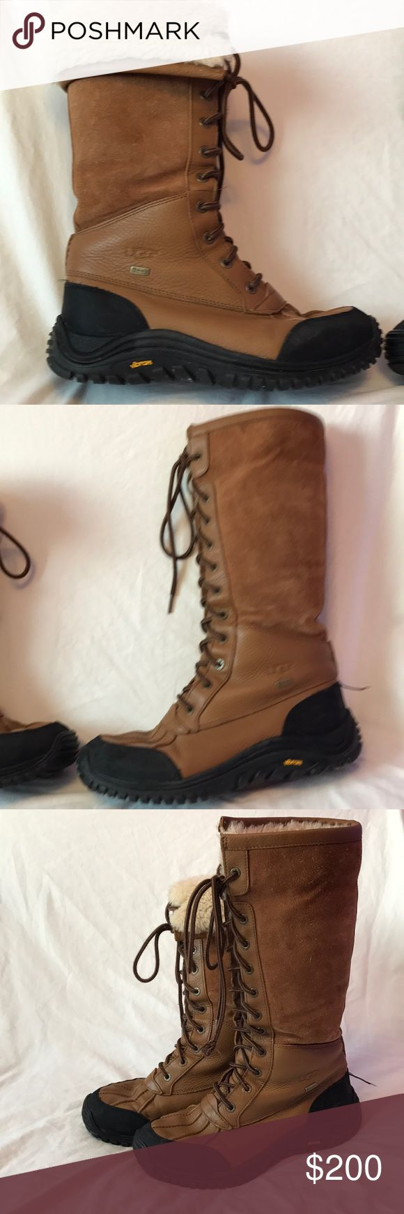 EUC UGG Adirondack tall boots Gorgeous leather, waterproof UGGs. Where them straight and tall or folded down at the top. Fully lined. One end of a lace is loose, but I can fix that. UGG Shoes Winter & Rain Boots