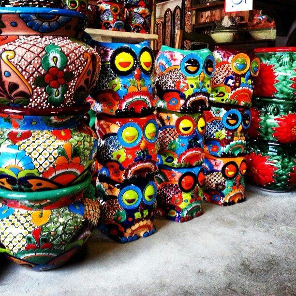 Mexican Garden Backyard Patio Barrio Antiguo 713 880 2105 #Owl Talavera  Planter Pots