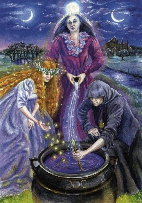 """Triple Goddess : Wendy Andrew : """"Brigid-Boann-Cerridwen Brigid, Goddess of fire, Lady of inspired creation The Boann, Goddess of the Irish river Boyne, She issues forth the life giving waters Cerridwen, Keeper of the ancient mysteries, She stirs the cauldron of transformation.  Maiden-Mother-Crone. The complete cycle of life"""""""