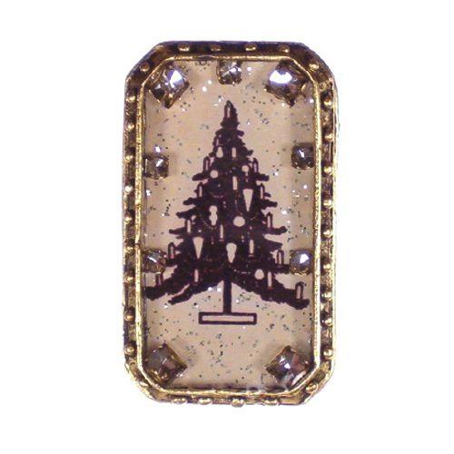 Maximal Art Pin Brooch Alpine Christmas Tree Silhouette Gold John Wind Jewelry #MaximalArt