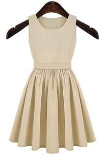 Apricot Slit Back Waist Structured Sleeveless Flippy Dress
