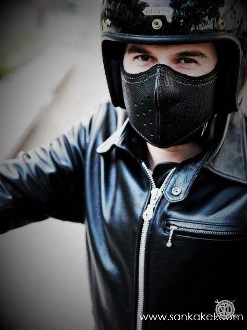 Masque moto en cuir