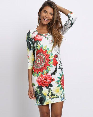 Revenge Humming Bird Print Dress 3/4 Sleeves Multi