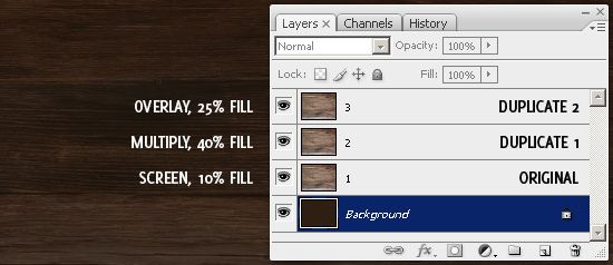 Wood Texture Layers and Settings