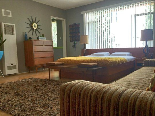 """impressed with the late 60s/early 70s decor. More 'Mad Men"""" and less 'Boogie Nights'.: Mid Century Modern, Modern Theme, Guest Bedroom, Bedroom Furniture, 460Sf Condo, Modern Wall, Beautiful Bedrooms"""