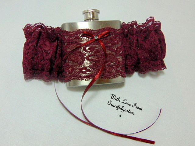 Wine Lace Hip Flask Bridal Wedding Garter. http://www.gracefulgarters.co.uk/product/wine-lace-hip-flask-bridal-wedding-garter/ #hipflask #hipflaskgarter #hipflaskweddinggarters