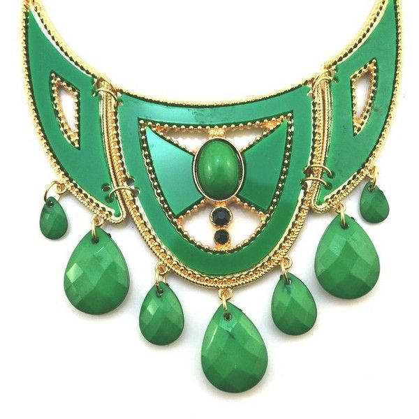 Green Stylish Faceted Stones Bib Necklace (€11) ❤ liked on Polyvore featuring jewelry, necklaces, green, polish jewelry, pendants & necklaces, bib necklace, green necklace and statement pendant necklace