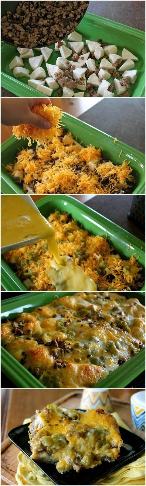 Bubble Up Breakfast Bake- recipe- reduced fat breakfast sausage, refrigerated biscuits, cheddar cheese, diced green chills, eggs...