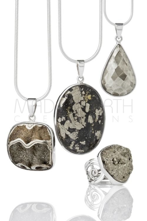 Pyrite collection…  Pyritized Ammonite fossil, Apache gold, faceted Pyrite and a cluster ring. Simply stunning!
