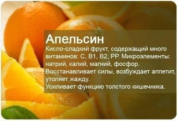 Апельсин >Наименее полезен апельсиновый сок – продукт, лишенный полезных качеств фрукта, так как это практически вода с растворенным в ней небольшим количеством веществ. Это напиток в первую очередь для удовольствия, а не для пользы, тем более что в соке остается огромное количество сахара. В 100 граммах апельсинового сока содержится 112 килокалорий.   >Апельсин содержит большое количество витамина С. По содержанию витамина С апельсин занимает одно из первых мест среди фруктов. Витамин С…