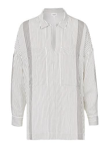 Viscose Stripe Shirt. Comfortable fitting silhouette features a a collar with dipped opening, long sleeves with cuffs and stepped hem in an all over Black and White stripe. Available in Stripe as shown.