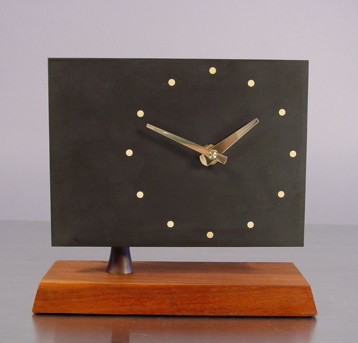 Mid Century Desk Clock, Slate and Walnut by Harpswell House. att ...