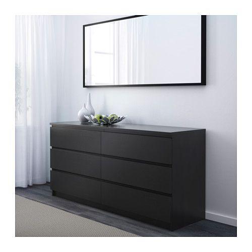MALM 6-drawer dresser - black-brown - IKEA