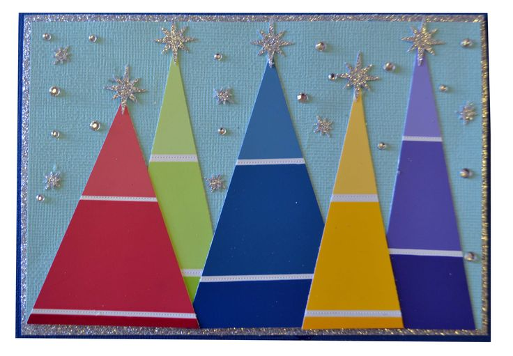 Coloured Christmas Tree Card