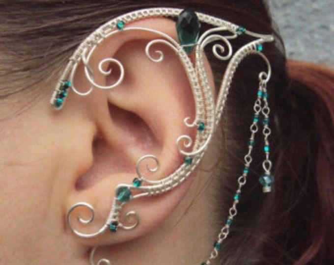 Paar van elven oor manchetten Emerald liefde