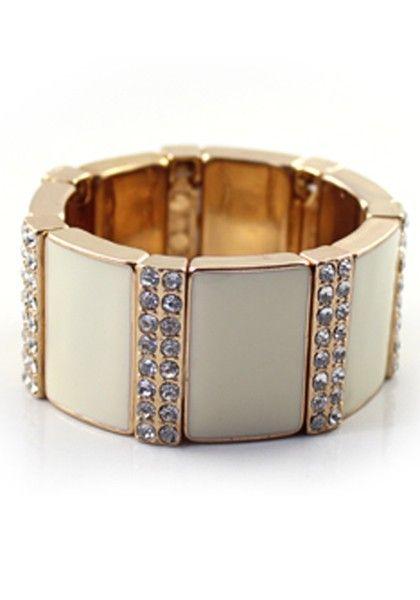 Lovely Wide White Rhinestone Bangle Bracelet