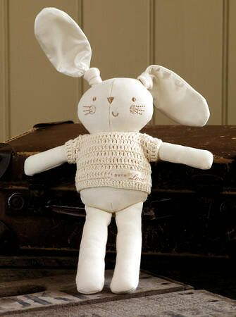 The Natures Purest Boy Bunny is made from a luxurious mix of natural coloured organic cotton and 100% pure silk. Wearing an embroidered crochet (removable) jumper and sporting floppy pure silk ears, he is cuddly, soft and a lovely cuddle companion for baby and toddler. An ideal baby shower or new born baby gift.