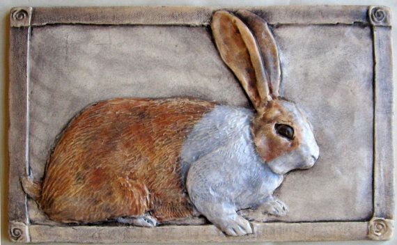 Hey, I found this really awesome Etsy listing at https://www.etsy.com/listing/193803117/rabbit-tile-handcrafted-relief-ceramic