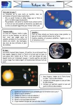Lecture documentaire CE1 l'éclipse de lune