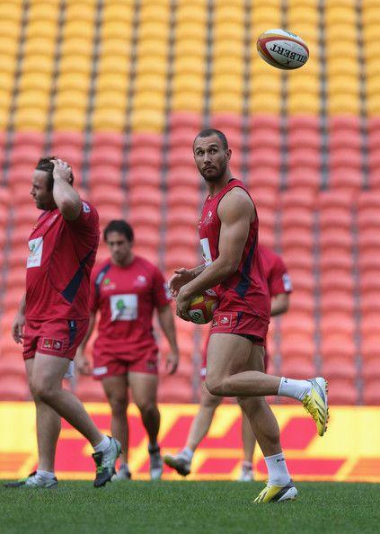 Quade Cooper, captain of Queensland Reds back heels the ball during a Queensland Reds captain's run at Suncorp Stadium on June 7, 2013 in Brisbane, Australia.