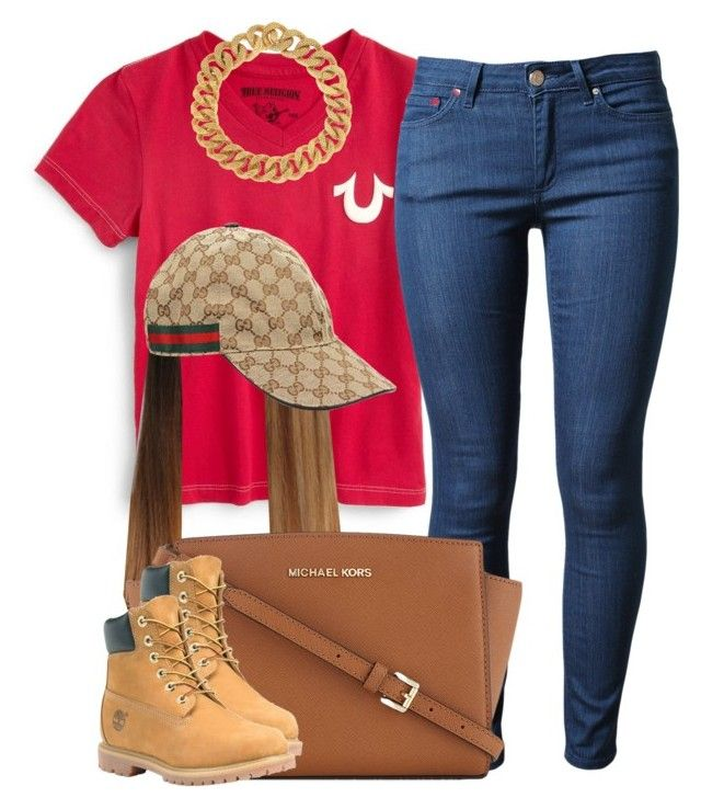 """."" by newtrillvibes ❤ liked on Polyvore featuring True Religion, Acne Studios, Yves Saint Laurent, MICHAEL Michael Kors, Timberland, Gucci, women's clothing, women, female and woman"
