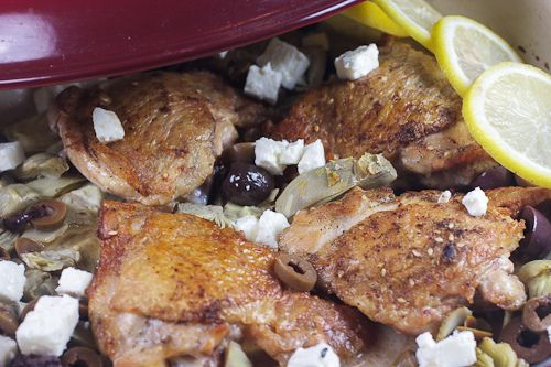 Lemon Braised Chicken Thighs with Artichokes, Olives & Feta | Recipe ...