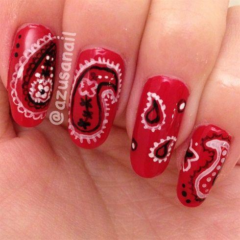 bandana nails by azusa - Nail Art Gallery nailartgallery.nailsmag.com by Nails Magazine www.nailsmag.com #nailart