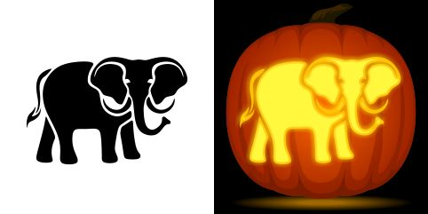 Elephant pumpkin carving stencil. Free PDF pattern to download and print at http://pumpkinstencils.org/download/elephant-pumpkin-stencil/