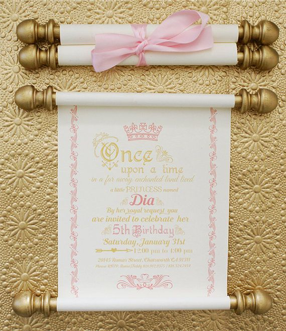 elegant princess scroll birthday invitation in gold and pink