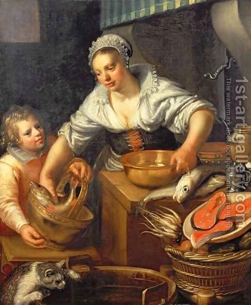 Jeremias van Winghe or Wingen (Bélgica, 1578-1645). A Kitchen Scene.