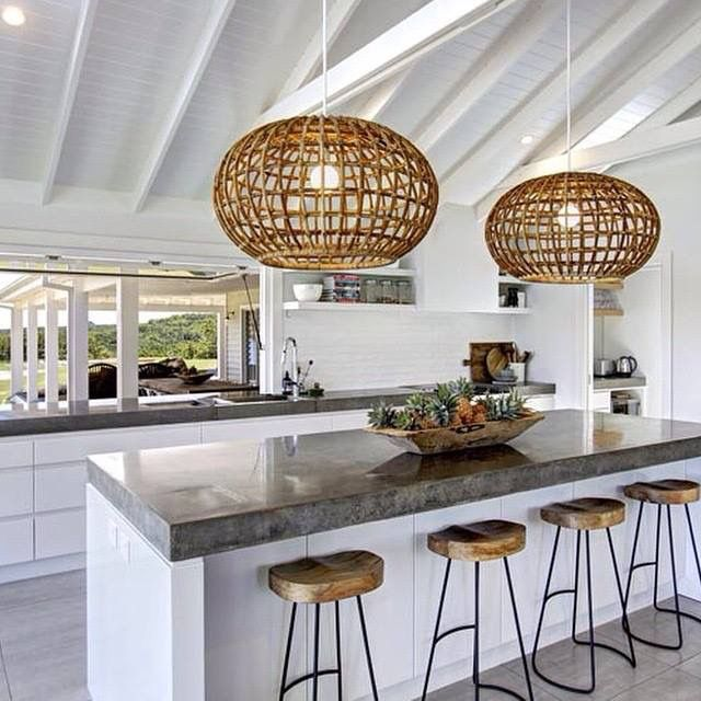 Concrete top kitchen island & cool drop light covers