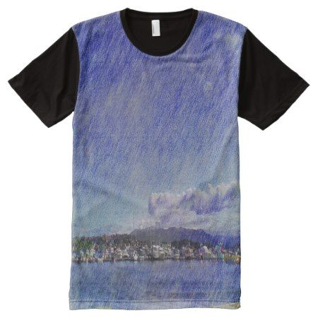 Leirvik harbor with boat All-Over-Print shirt - tap to personalize and get yours
