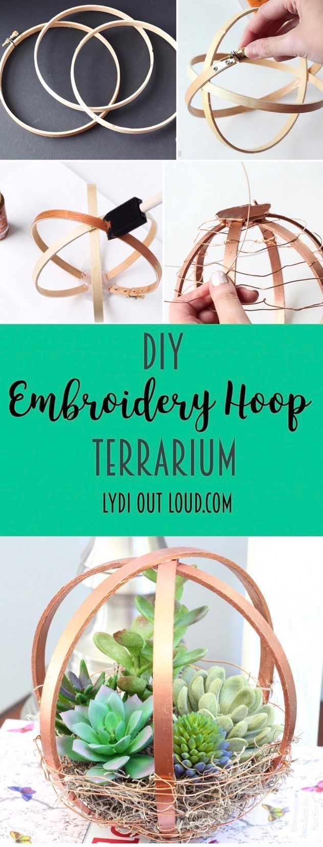DIY Terrarium with embroidery hoops! #terrarium #succulents #diyhomedecor