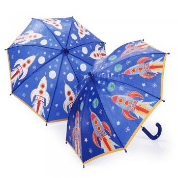 Blue Rocket Colour Changing Umbrella, images change colour when wet