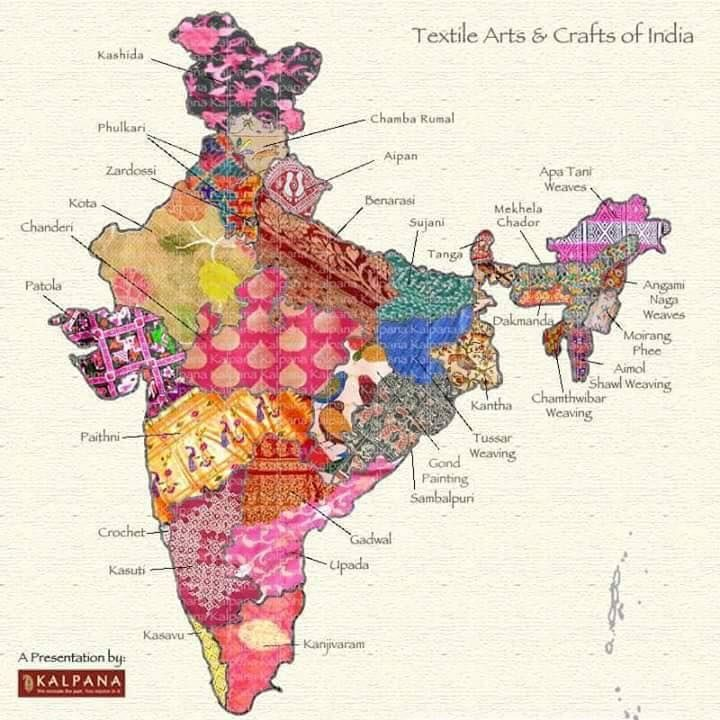 A visual map of the fabrics of India