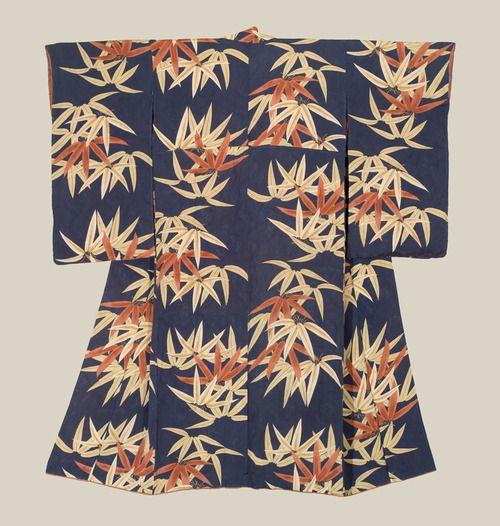 A rinzu silk kimono featuring yuzen-dyed bamboo leaves. Late Meiji to Mis-Taisho era (1900-1920), Japan. The Kimono Gallery