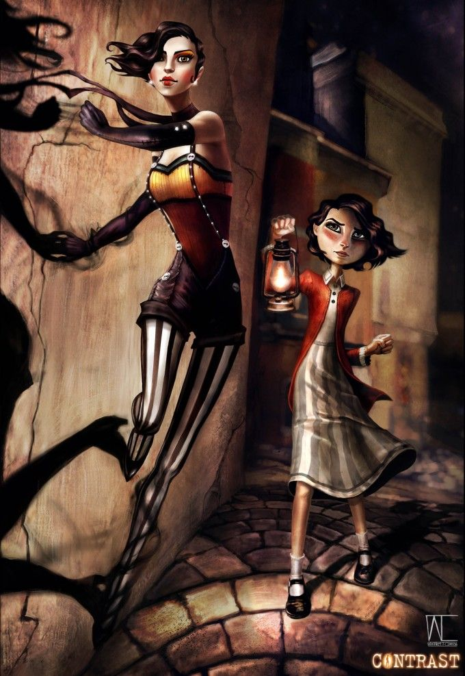 Dawn (left) from the video game CONTRAST. This is more of an inspiration for an aerials costume rather than actual cosplay.