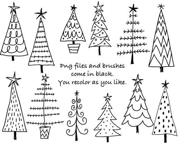 Doodle Noël arbres Clipart numérique, Photoshop CS4 + fichiers