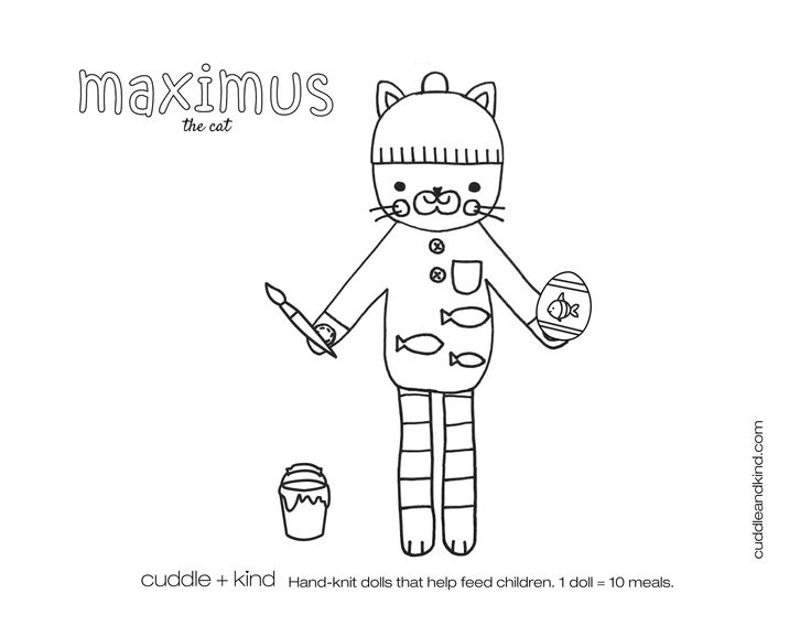 cuddle+kind maximus the cat colouring sheet. www