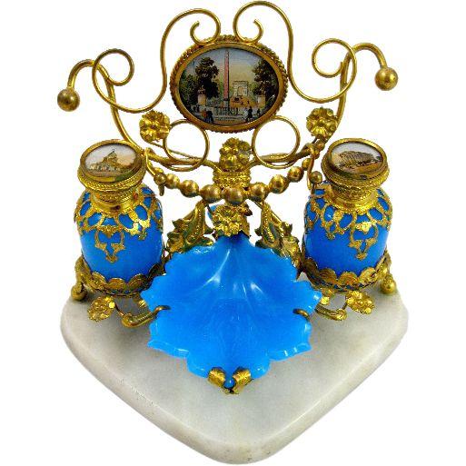 Large Antique Palais Royal Opaline Glass Perfume Set on a Triangular Marble Base